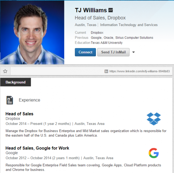 An example of a good Linkedin profile