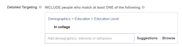 Student targeting in Facebook