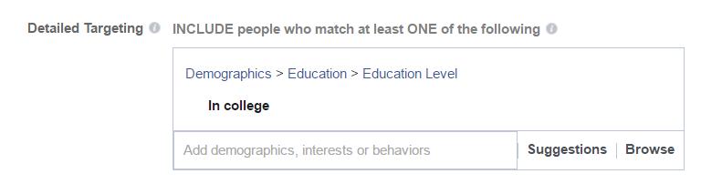 Student targeting in Facebook