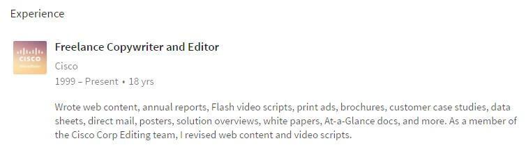 Freelance copywriter fron linkedin