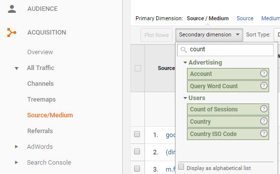 Google Adwords Secondary Dimension