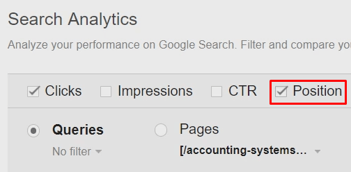 Search analytics position