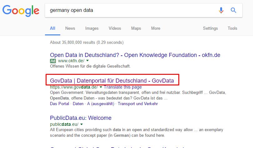 Open data portals search
