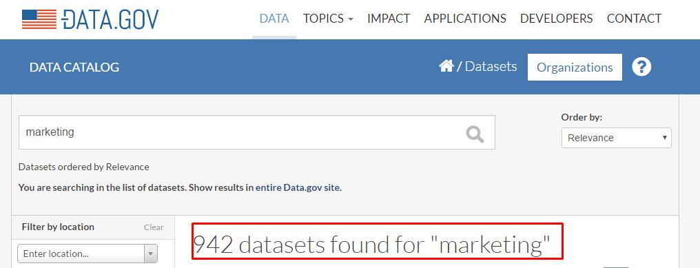 Data.gov search results